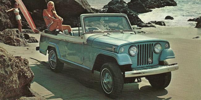 A print ad for a 1966 Jeepster Sports Convertible. Columnist Seth Klein believes it's time to ban advertisements that glamorize the very products that got us into a climate emergency. Photo by John Lloyd / Flickr (CC BY 2.0)