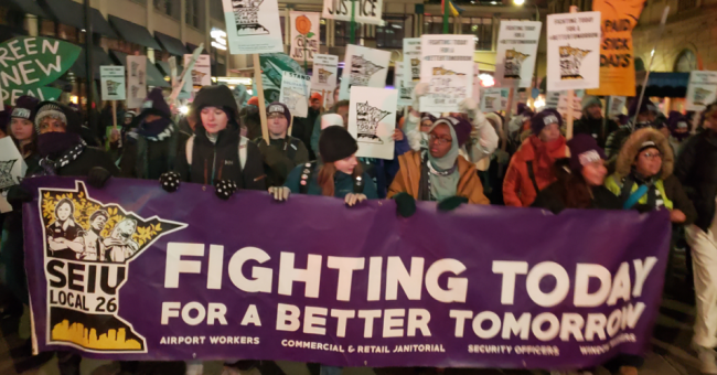 Thousands of Minneapolis cleaning workers walked off their jobs and struck their downtown commercial high-rises. Among their key demands was that their employers take action on climate change. Quite possibly the first union sanctioned strike in the U.S. for climate protection demands. (Photo: SEIU Local 26)