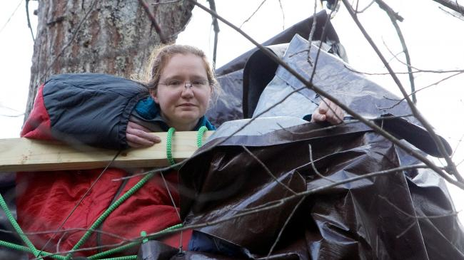 Theresa Minor Terry in a tree-sit on her family's land. Heather Rousseau/The Roanoke Times via AP
