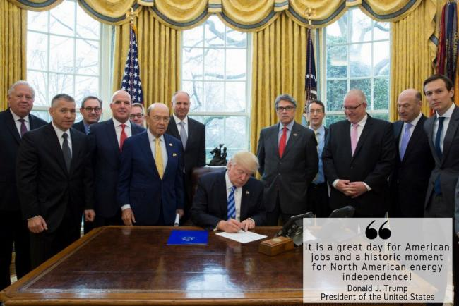 U.S. President Donald Trump, flanked in the White House on March 24, 2017 by pipeline supporters, including TransCanada chief executive Russ Girling, announces he has approved the Keystone XL pipeline. Twitter photo posted by Trump