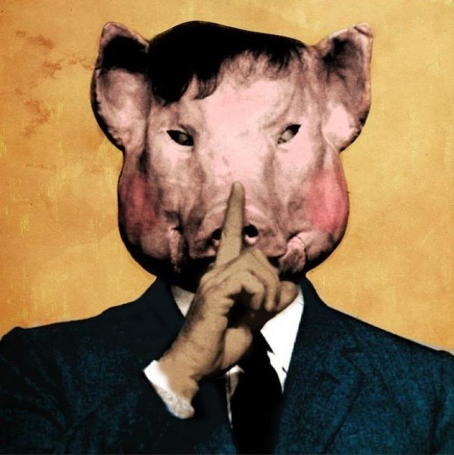 "man with pig's head signalling 'shhh"" Art by Nick Roney"
