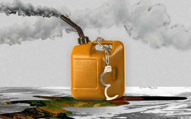 Gas container and handcuffs image - Communities are now demanding the oil conglomerates pay damages and take urgent action to reduce further harm from burning fossil fuels. Illustration: Guardian Design/Getty Images