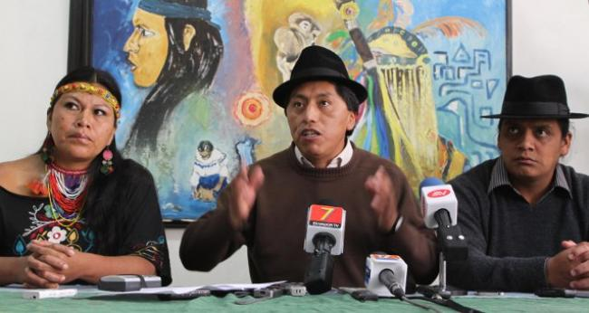 Humberto Cholango, CONAIE President, speaks at a press conference in Quito on Jan. 9, 2014.