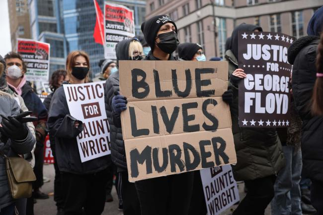 Demonstrators protest near the Hennepin County Courthouse on April 19, 2021, in Minneapolis, Minnesota. SCOTT OLSON / GETTY IMAGES