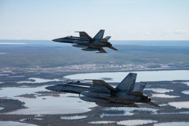 RCAF CF-18 Hornet fighter jets participate in a northern air defence mission during Exercise AMALGAM DART 21-1 in June. Photo via Royal Canadian Air Force / Facebook