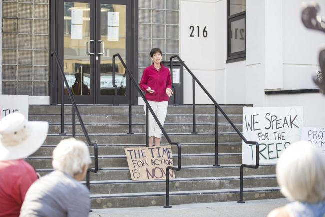 Virginia Thompson spoke on the steps of City Hall July 7 to update the community about Old Growth Revylution's upcoming actions. (Jocelyn Doll-Revelstoke Review)