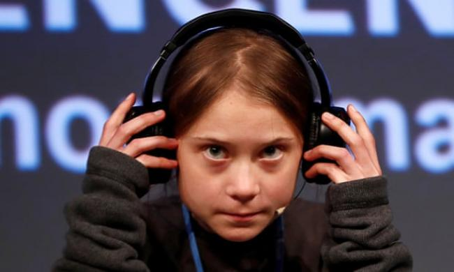 Greta Thunberg holds a news conference in Madrid where the COP25 climate summit is being held. Photograph: Sergio Pérez/Reuters