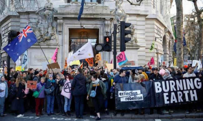 An Extinction Rebellion protest at the Australian embassy in London on Friday. Photograph: Henry Nicholls/Reuters