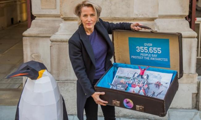 Gillian Anderson delivers a Greenpeace petition to the Foreign Office in London in 2018. Photograph: Guy Bell/REX/Shutterstock