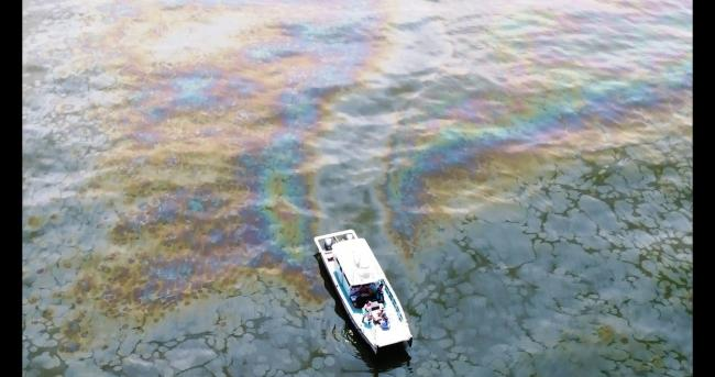 An aerial image of an oil slick in the Gulf of Mexico, taken on April 28, 2018. (Oscar Garcia-Pineda)