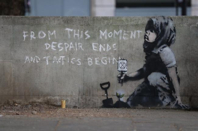 New Banksy artwork near Marble Arch, London, 29 April 2019