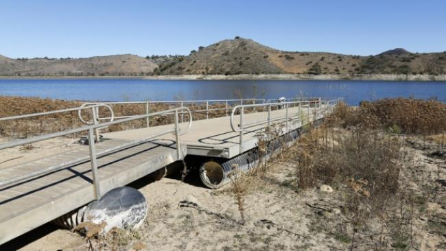 The receding water line of Lake Hodges