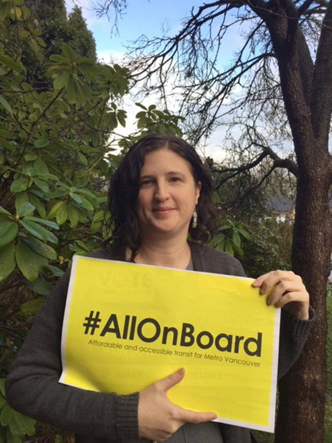 Viveca Ellis runs the All On Board campaign for the B.C. Poverty Reduction Coalition.