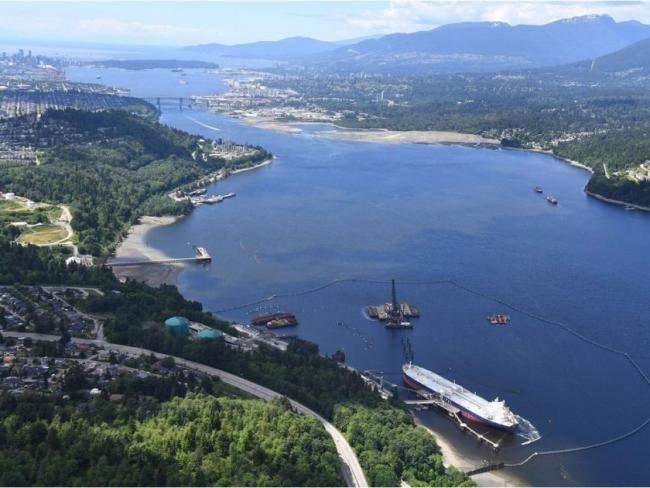 An aerial view of Kinder Morgan's Trans Mountain marine terminal in Burnaby. Jonathan Hayward / THE CANADIAN PRESS