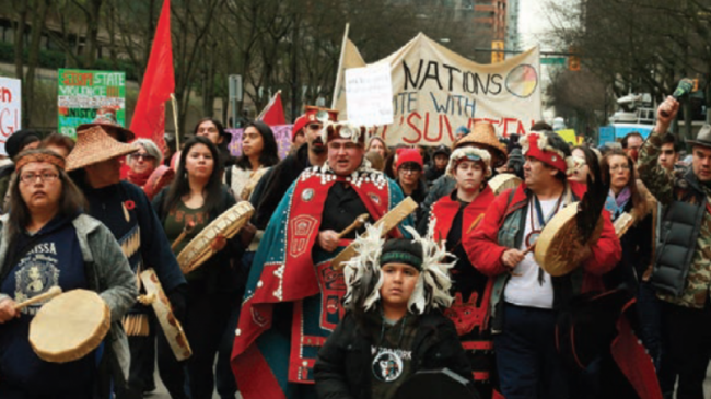 Demonstrators show support in downtown Vancouver for protesters arrested in 2018 at a Coastal GasLink project blockade. File photo:Rob Kruyt