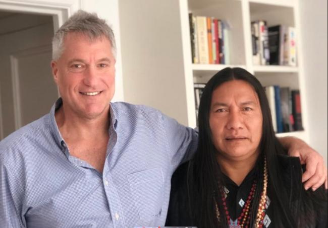 Attorney Steve Donziger with indigenous leader Manari Ushigua from the Sápara nation in the Amazon, which has been fighting incursions by oil companies. Manari visited to express solidarity with Donziger during his house arrest. Steve Donziger / Twitter