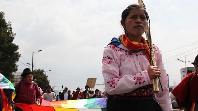 Alexandra was one of about 80 indigenous protesters who set out from their native lands on November 3 and marched to Quito [Kimberley Brown/Al Jazeera]