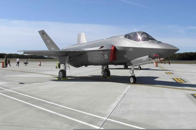 An F-35 fighter at the Vermont Air National Guard base,Wilson Ring / AP File