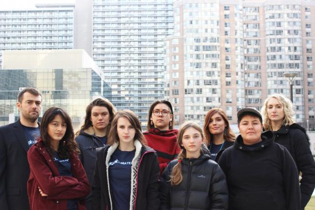 The seven young Ontarians who served notice on Doug Ford's government over climate inaction with two Ecojustice lawyers representing them. Photo courtesy of Ecojustice
