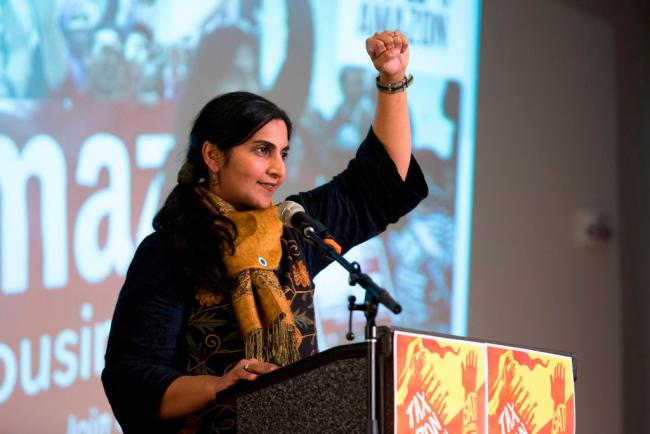 """Seattle City councilmember Kshama Sawant addresses supporters during her inauguration and """"Tax Amazon 2020 Kickoff"""" event in Seattle, Washington on January 13, 2020. (Jason Redmond / AFP via Getty Images)"""