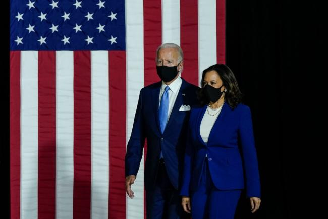 Joe Biden and Senator Kamala Harris deliver remarks on August 12, 2020 in Wilmington, Delaware. (Drew Angerer / Getty Images)