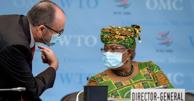 Ngozi Okonjo-Iweala, director-general of the World Trade Organization, attends a session of the WTO General Council in Geneva on March 1, 2021. (Photo: Fabrice Coffrini/Pool/AFP via Getty Images)
