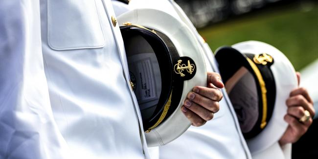 A U.S. Navy class arrives for their graduation ceremony at the Naval Academy on May 28, 2021, in Annapolis, Md. Photo: Kevin Dietsch/Getty Images