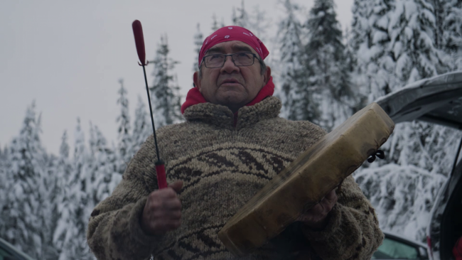 Lekeyten of Kwantlen First Nation, photographed at the Gidimt'en Checkpoint on Wetsuewt'en territory in 2019. Photo by Michael Toledano