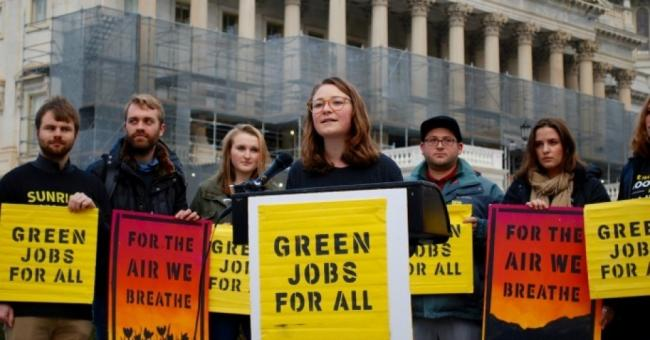 Despite challenges from parts of both the labor and the environmental movements, which its sponsors had undoubtedly hoped would be among its strongest supporters, Markey and Ocasio-Cortez's Green New Deal resolution has gone a remarkably long way toward putting a genuine discussion of what an effective and just climate policy might look like in the public arena for the first time. (Photo: Emelia Gold)