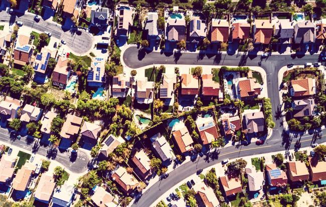 Suburban tract housing near Santa Clarita, California. Photo by Hal Bergman.