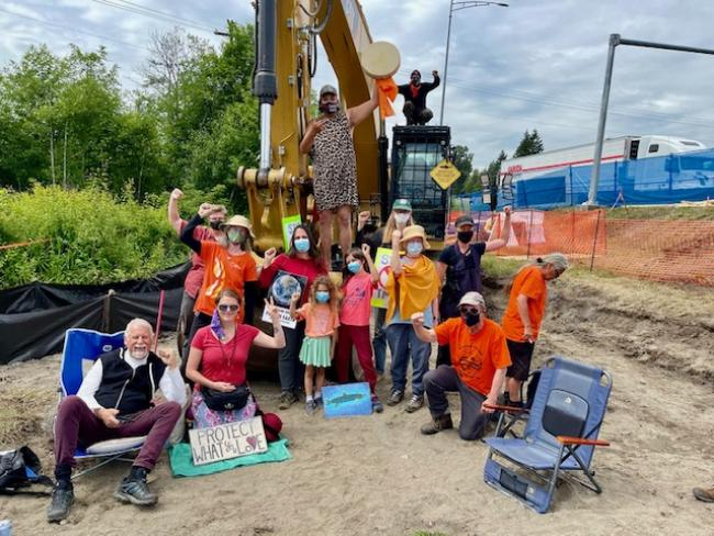 Prayer Circle and allies held off TMX work for an entire day at Brunette Interchange