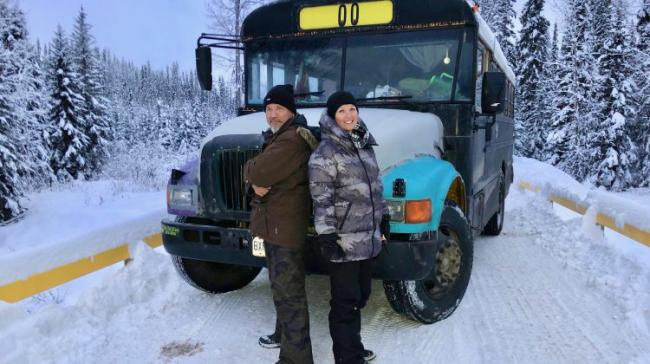 Molly Wickham, a member of the Gidimt'en clan (right) with fellow protestor on Morice River road protesting the injunction to let Coastal Gas onto their territory on December 17, 2018 | Photo by Sawyer Bogdan