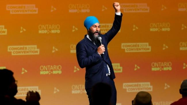 NDP leader Jagmeet Singh announces the 2019 election platform in Ottawa. Still image from YouTube/CBC.