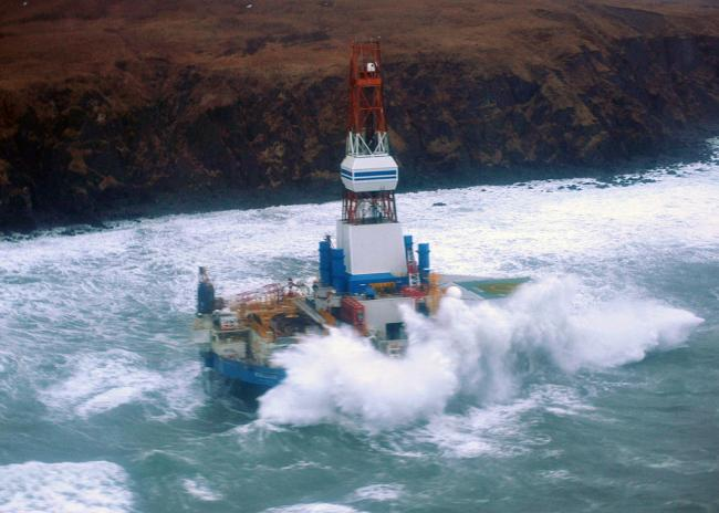 Kulluk aground on the southeast side of Sitkalidak Island on January 1, 2013. (image: U.S. Coast Guard)