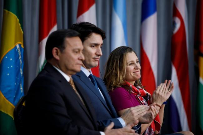 """Prime Minister Justin Trudeau and former Foreign Affairs Minister Chrystia Freeland host a gathering of foreign ministers from the Lima Group, a coalition of countries formed to """"solve the Venezuela crisis."""" Photo from Twitter."""