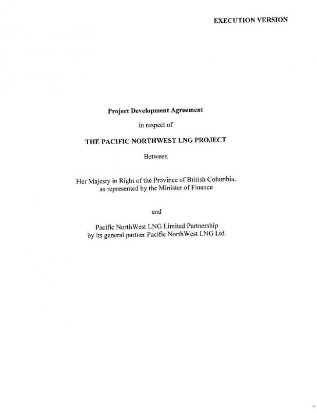 Text Of Bc Government'S Lng Project Development Agreement