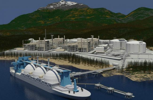 Facing a world of challenges: Artist's rendition of the sole LNG project under construction in BC, the LNG Canada terminal in Kitimat. Image via Fluor.