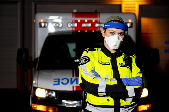 Megan Lawrence is an ambulance paramedic in Vancouver. All photos by Joshua Berson.
