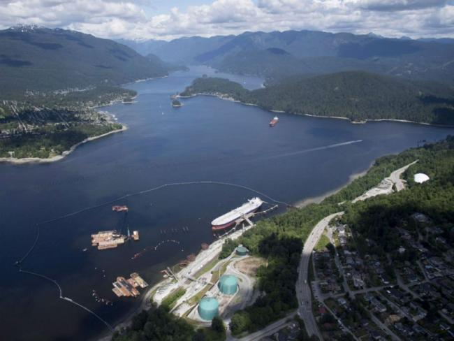A aerial view of Kinder Morgan's Trans Mountain marine terminal, in Burnaby, B.C., is shown on Tuesday, May 29, 2018. JONATHAN HAYWARD / THE CANADIAN PRESS