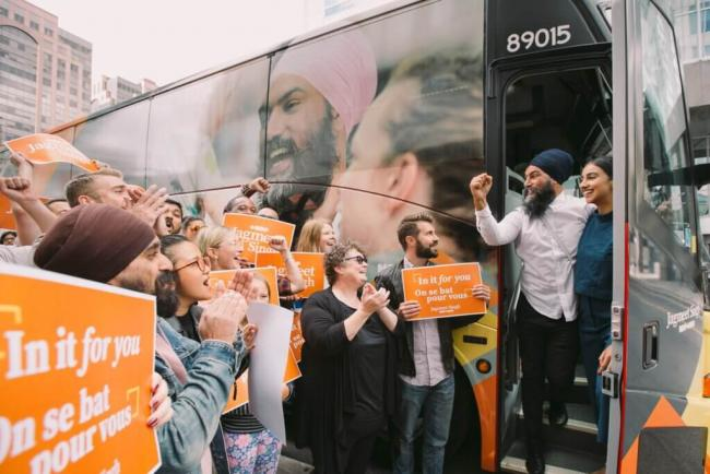 HEAD OF THE NEW DEMOCRATIC PARTY JAGMEET SINGH GREETS SUPPORTERS ON NOVEMBER 18, 2019. (PHOTO: CANADA'S NDP/LE NPD DU CANADA/FACEBOOK)