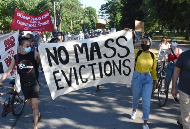 No mass evictions protest