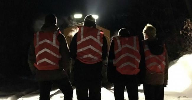 Four #NoCoalNoGas campaign activists block a coal train near Worcester, Massachusetts on Dec. 7. (Twitter/Jay O'Hara)