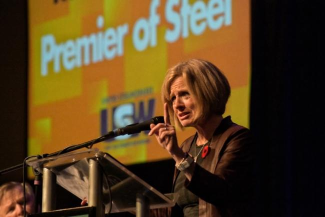 Alberta Premier Rachel Notley addresses a convention of Western Canadian United Steelworkers in Kamloops on Oct. 31, 2018. Photograph By DAVE EAGLES/KTW