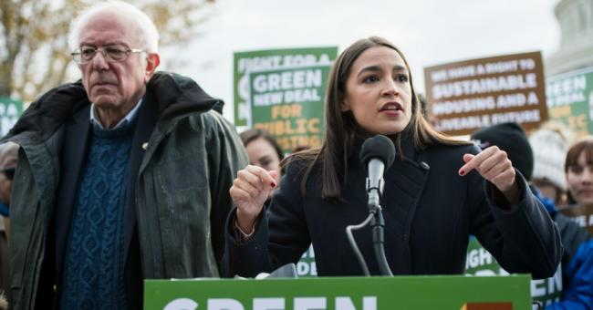 Sen. Bernie Sanders (I-Vt.) and Rep. Alexandria Ocasio-Cortez (D-N.Y.) announce the introduction of public housing legislation as part of the Green New Deal outside the Capitol on Thursday, Nov. 14, 2019. (Photo: Bill Clark/CQ-Roll Call, Inc. via Getty Images)