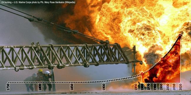 Oil burning - US Marine Corps photo by Pfc Marie Rose Xenikakes (Wikipedia)