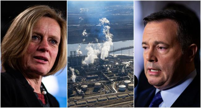 Left, file photo of Alberta Premier Rachel Notley by Alex Tétreault. Centre, photo of Alberta oilsands by Andrew S. Wright. Right, photo of United Conservative Party leader Jason Kenney by Alex Tétreault