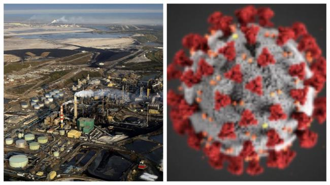 Alberta oil sands. Photograph by Andrew S. Wright. / Image of the novel coronavirus