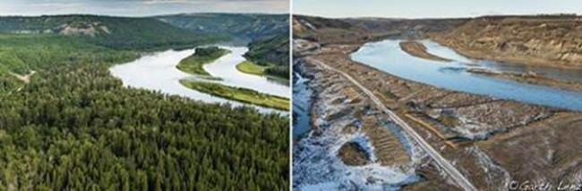 Peace River before and after commencement of construction of Site C Dam, Garth Lenz