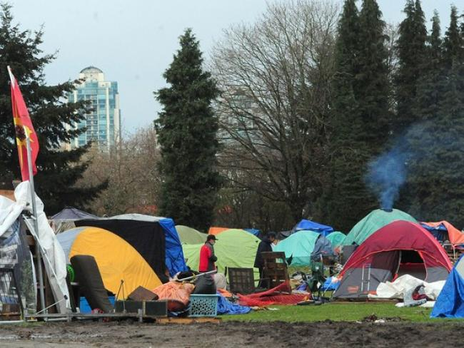 Mid-December scenes from Strathcona Park in Vancouver. The city's homeless crisis has become a political funding controversy between the provincial and federal governments. PHOTO BY NICK PROCAYLO /Postmedia News Files