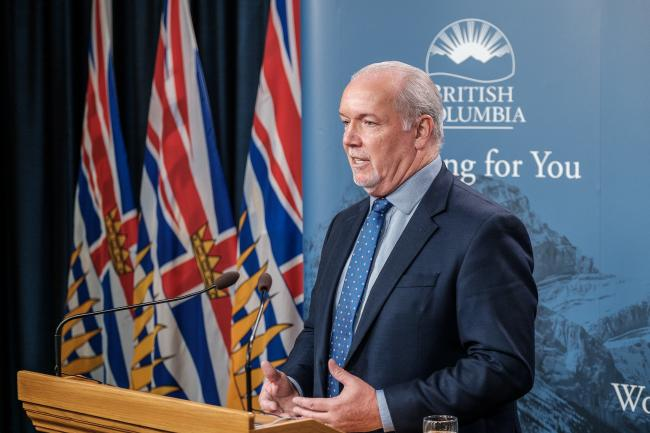 'Premier John Horgan has a responsibility and a moral obligation to come to the table,' says Hereditary Chief Na'Moks. 'He shouldn't be hiding behind the RCMP or the company.' Government of BC photo.